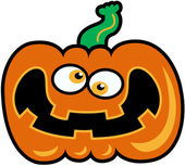 Crossed-eyed orange pumpkin with wide open mouth showing a mad expression between nervous and happy