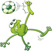Green frog jumping throwing the body up into the air and making a shearing movement with the legs to execute a bicycle kick with a soccer ball while clenching its teeth and looking fully determined