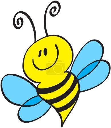 Illustration pour Petite abeille mignonne avec antennes, corps jaune dépouillé et ailes bleues en volant, posant et souriant - image libre de droit