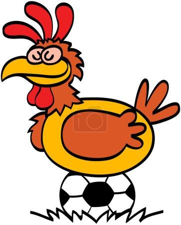 Sleepy hen on soccer ball