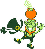 Green Leprechaun smiling greeting and balancing while holding a pot of gold and a rainbow over his head