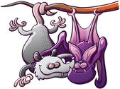 Odd couple composed by a gray opossum and a purple bat hanging from the same branch while clenching their eyes smiling and having great fun when embracing each other