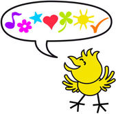 Happy yellow chicken while smiling clenching its eyes and expressing sweet words through a musical note a flower a star a heart a clover a sun and a check mark inside a speech balloon