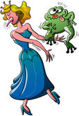 Beautiful princess kissed an ugly toad