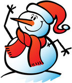 Nice snowman wearing a carrot nose red scarf and Santa hat while smiling and waving hello by raising his right hand