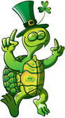 Green turtle wearing hat
