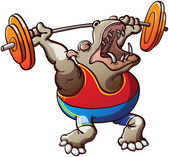 Brave and courageous brown hippopotamus wearing a blue tank and red shorts and making a big effort to lift the weight plates in a weightlifting competition