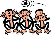Three wise monkeys doing the opposite to what they are supposed to do because there's a soccer ball flying above their heads When soccer is on the air they prefer to see to hear and to speak