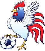 Rooster with  soccer ball