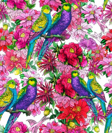 Parrots and beautiful flowers