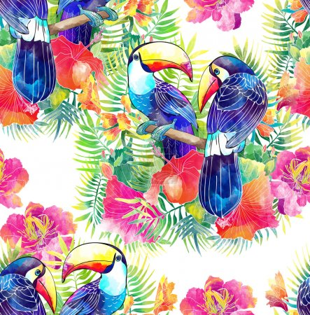 Birds toucan and tropical flowers