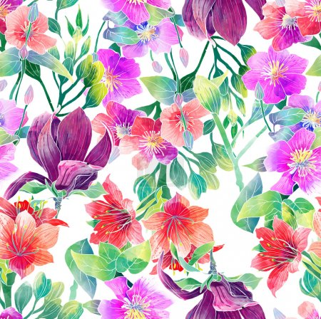 Photo for Raster art watercolor pattern of exotic flowers - Royalty Free Image