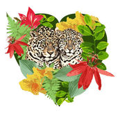 Leopards and flowers