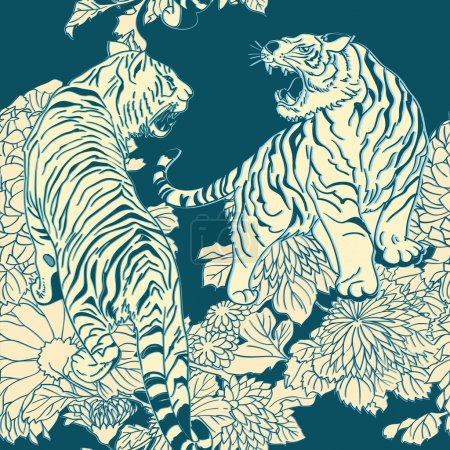 Illustration for Seamless pattern in the style of Japanese prints - Royalty Free Image