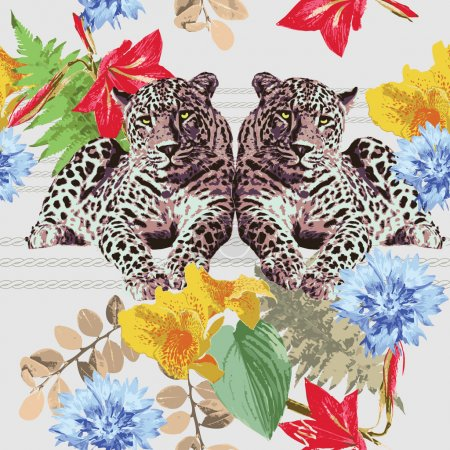 Illustration for Leopards and flowers - Royalty Free Image