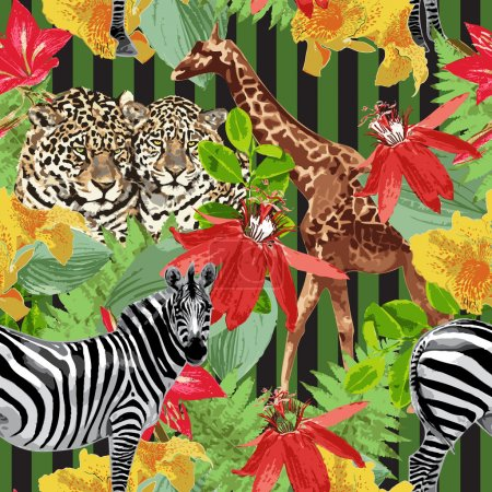Illustration for Leopards, zebra, giraffe and flowers - Royalty Free Image