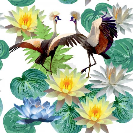 Cranes and lotuses