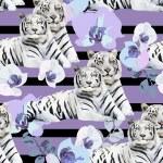 Постер, плакат: White tigers and flowers