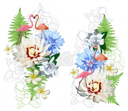 Flamingos and exotic flowers