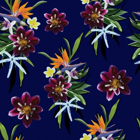Pattern of tropical flowers