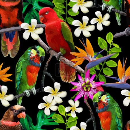 Illustration for Vector seamless pattern of exotic birds and beautiful flowers - Royalty Free Image