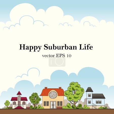 Happy suburban life. Vector illustration
