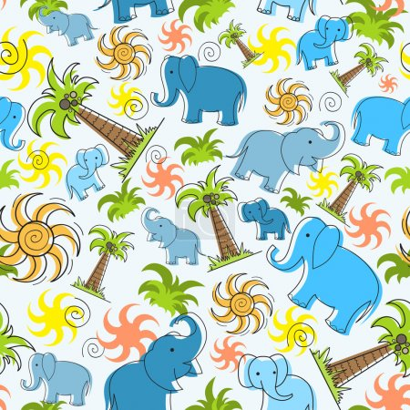 Vector pattern with elephants, palms and sun