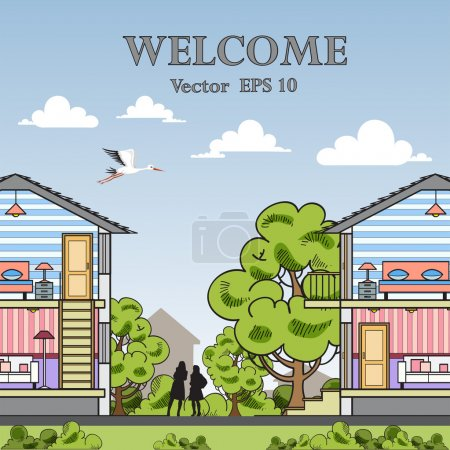 Vector illustration with houses for use in design