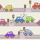Vector pattern with cars and traffic