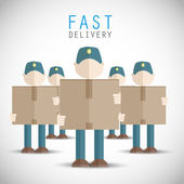 Delivery men holding packages vector background