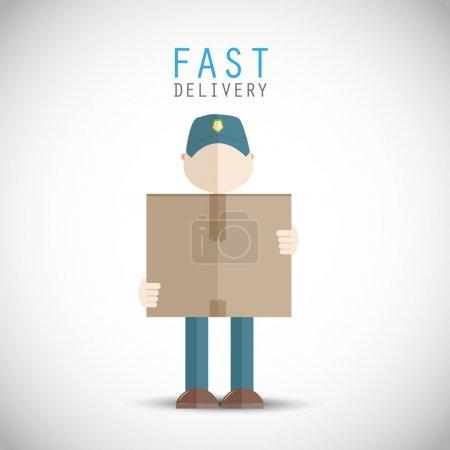 Illustration pour Fond de vecteur homme livraison rapide - image libre de droit