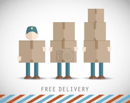 Illustration pour Livreurs avec boîtes vecteur fond - image libre de droit