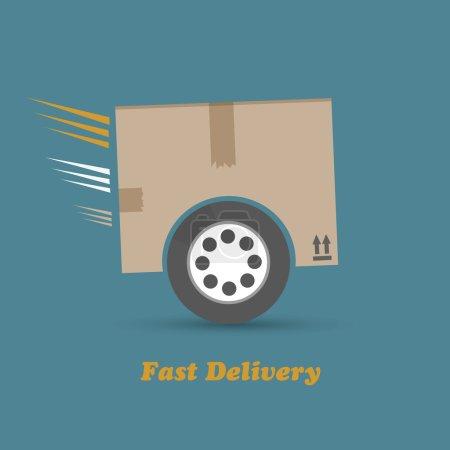 Illustration pour Boîte en carton avec fond vectoriel de roues - image libre de droit