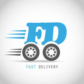 Fast delivery symbol on wheels vector background