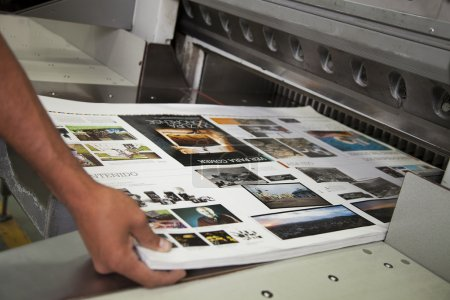 Photo for Close up of an offset printing machine during production - Royalty Free Image