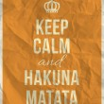 Keep calm and hakuna matata quote on yellow crumpl...