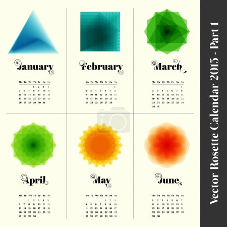 Calendar 2014 with colorful rosettes, 6 months, part 2