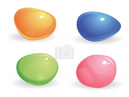Illustration for Four small, smooth, shiny, differently colored gems. blue, green, pink and yellow stones on a white background - Royalty Free Image