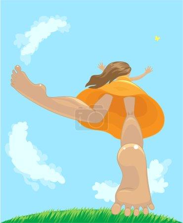 Illustration pour Bonne petite fille a sauté du sol pour attraper le papillon - image libre de droit