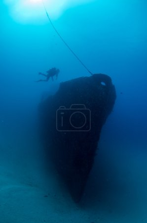 Shipwreck and divers