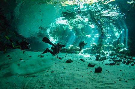The freshwater cenotes from the Yucatan peninsula,...