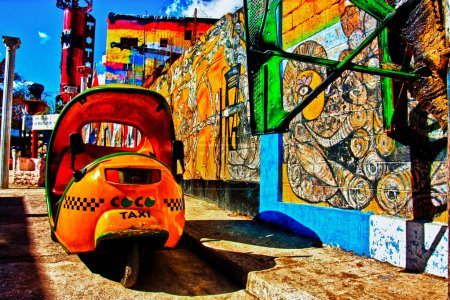 Cuban Streets with taxi
