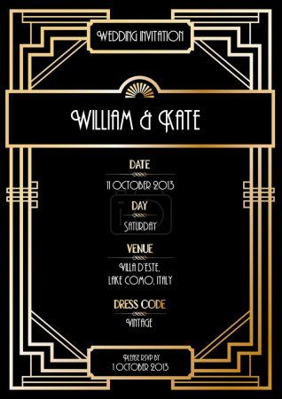Art deco wedding invitation card