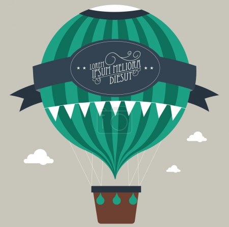 Illustration for Vintage hot air balloon template illustration - Royalty Free Image