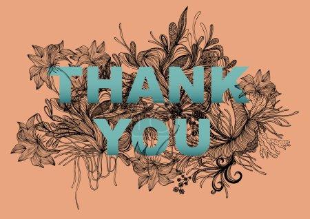 Illustration for Thank you greeting flower background illustration - Royalty Free Image