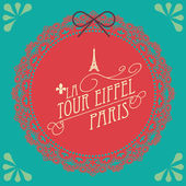 Eiffel tower with border template illustration