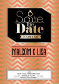 Retro wedding save the date invitation card