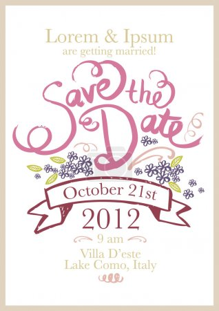 Illustration for Save the date invitation template illustration - Royalty Free Image