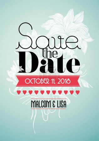 Illustration for Save the date invitation card template illustration - Royalty Free Image