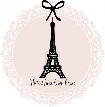 Illustration for Eiffel tower border template .Vector illustration - Royalty Free Image